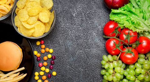 Gesunde Ernährung vs. Fastfood und Fett, Gegenüberstellung